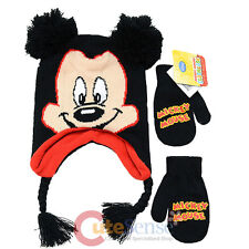 Disney Mickey Mouse 3D Ear Laplander Beanie Hat Gloves Set - Mickey Face