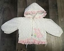 VTG Tiny Tots Original Baby Girl Jacket Applique Pink Flowers Bunny 3 6 Months