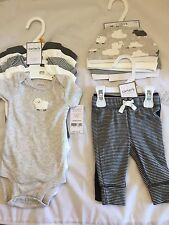Lot of Carter's Baby Newborn Clothes NB 5 Bodysuits 2 Pants 3 Hats Gray New NWT