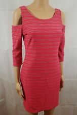 Cotton Candy Dress Pink Gray Striped Bodycon Cold Shoulder Casual Stretch Size M