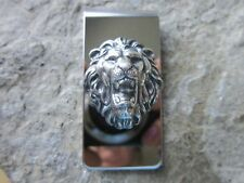 Silver Lion Stainless Steel Money Clip - Father'S Day - Africa - Lion'S Head, B