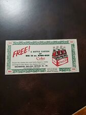 TG Vintage 1950s Thick Card Stock Coca-cola Free Six Pack Coupon Westminster Md