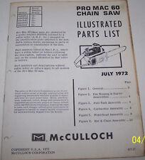 McCULLOCH CHAIN SAW PRO MAC 60 ORIGINAL OEM ILLUSTRATED PARTS LIST