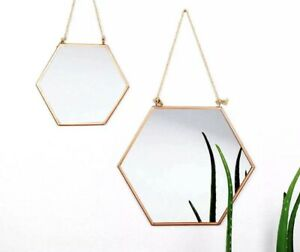 Rose Gold Copper Hanging Hexagon Wall Mirror Metal Rope Geometric Modern Vintage