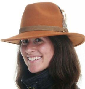 Ladies Rust Brown Crushable Wool Walking Outdoor Showerproof Trilby Fedora Hat