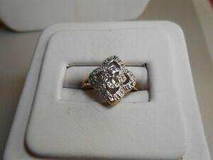 SWEET DIAMOND RING WHITE & YELLOW GOLD 10KT
