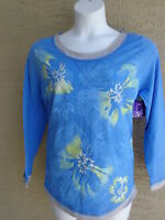 NWT Just  My Size 2X  L/S Scoop Neck Glitzy Graphic Twofer Tee Top Blue Multi