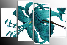 LARGE TEAL SPLIT  FLOWER CANVAS PICTURE TIGER LILY MULTI 4 PANEL WALL ART 100 cm