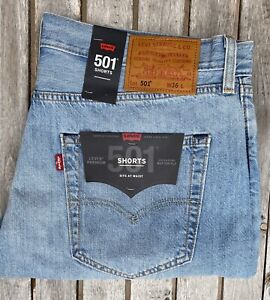 Levis Premium 501 Shorts Signature Button Fly Mens Size 36 Distressed RRP $89.95