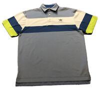 Men's FootJoy FJ Gray Blue Striped Embroidered Logo Polo Golf Shirt Sz M Medium