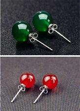 Genuine Green Red Moonstone 925 Sterling Silver  Stud Earrings Studs Women Gift