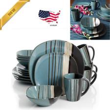 16 Piece Dinnerware Set Dinner Home Kitchen Stoneware Plates Serving Dishes Teal