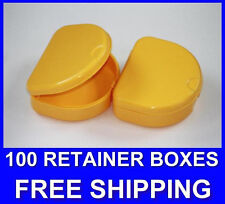 100 Yellow Denture Retainer Box Orthodontic Dental Case Mouth Ortho Brace Teeth.