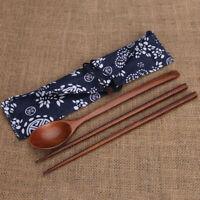 Vintage Chinese Korean Wooden Chopsticks Spoon Cutlery Tableware w/ Storage Bag