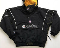 Vtg Starter PITTSBURGH STEELERS Sz L Hooded Half Zip Pullover Jacket Stitched