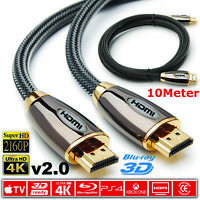 10 M PREMIUM 4K HDMI CABLE 2.0 HIGH SPEED GOLD PLATED BRAIDED LEAD 2160P 3D HDTV
