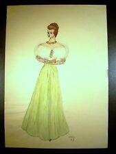 Lady In Green Ball Gown Original Multi Media Sketch  C. Schattauer Kelm