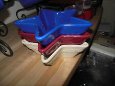 Longaberger Three Star Dishes Red/white/Blue