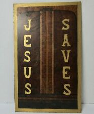 Antique EVANGELICAL JESUS SAVES PAINTED SIGN AMERICAN Folk Art