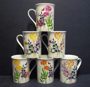 6 A SET OF SIX DATA MEDOW FRESH FINE BONE CHINA MUGS CUPS BEAKERS TO CLEAR