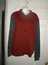 NWT NEW ZOO YORK Lettermen Sweat Jacket Coat Maroon Gray Snapback M