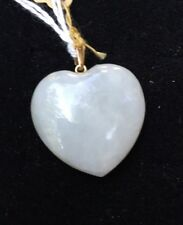 H10 antique JADEITE heart PENDANT 14k gold c.1900 WHITE JADE Japan
