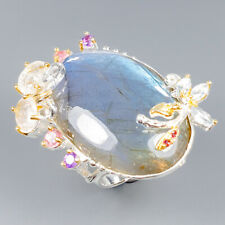 Handmade40ct+ Natural Labradorite 925 Sterling Silver Ring Size 9/R118616
