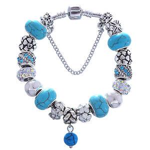 WOW Silver Blue Swirl Murano Rainbow Rhinestone White Flower Charm Bracelet