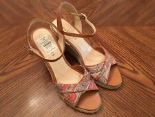 New TALBOTS Multicolor Fabric/Leather High Heel Wedge Espadrille Sandals Size 8M