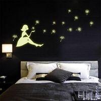 Removable Art Decals Dandelion girl Glow In The Dark Vinyl Wall Stickers  New.UK