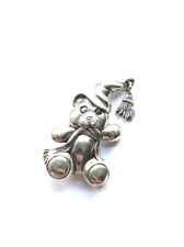 Sterling silver teddy bear brooch pin, Christmas pajamas, hat and scarf moveable