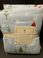 FLANNEL Pottery Barn Kids SNOWMAN FULL Sheet Christmas WINTER Holiday NEW