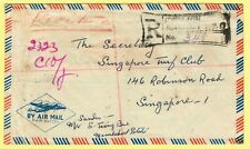 1961 North Borneo reg cvr with TRAIN MAIL cds on 46c rate to Singapore.