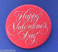 Hallmark BUTTON PIN Valentines Vintage Happy HEART Day Hoilday Pinback FABRIC