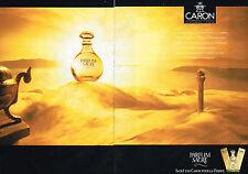 PUBLICITE ADVERTISING 034  1990   CARON  parfum SACRE  ( 2 pages)