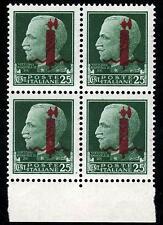 1944-R.S.I. cent.25 - Soprastampa FASCIO ROSSO - in QUARTINA