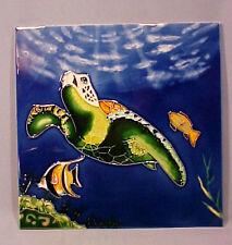 "Ceramic 11"" Tile Sea Turtle Underwater Scene - WOW!"