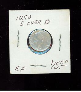 1950 S over D USA Roosevelt Dime 10 cent coin
