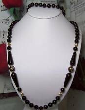Black Onyx With 14k Gold Beaded Necklace.BON020