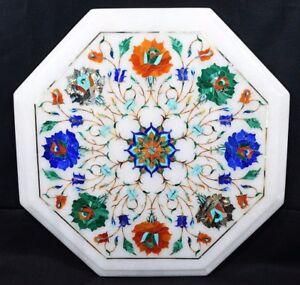 "12"" Marble Handmade Table Top Semi Precious Stones Work Home Decor"