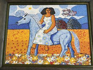 Beautiful Dominican Artist Candido Bido Naive Acrylic Woman On Horse Landscape