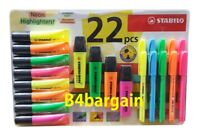 Stabilo NEON Highlighters Pack of 22 Yellow Orange Pink Green Home Office School