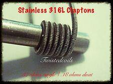 (10) Stainless Steel 316L Claptons (Micro Rta Alien Rda Rba Coils) + Cotton