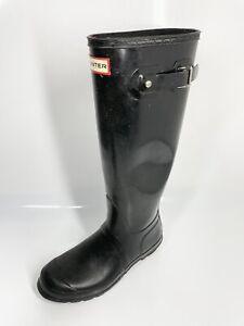 Hunter Original Tall Gloss Boots UK6 EU39 Black Wellies Wellingtons (1329 B18)