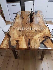 Handmade Epoxy Dining Custom Center Table Clear Resin Live Edge Patio Arts Décor