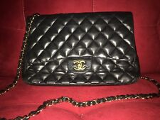 100% Authentic Black Chanel Jumbo Lambskin Bag Handbag Gold Hardware