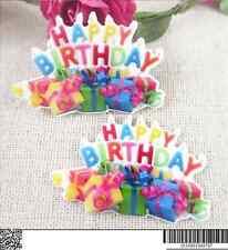 5 X 45 mm Corte Láser Feliz Cumpleaños Piso Nuevo Resina Diademas moños de elaboración de tarjetas