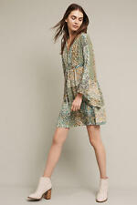 Anthropologie Amelie Silk Kimono Dress Green Size 10