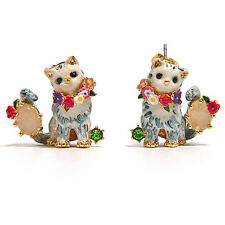 LES NEREIDES DAPPER CAT AND PINK STONE STUD EARRINGS