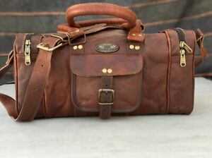 16 Inch Men's Leather Weekend Tote Travel Holdall Duffel Overnight (Dark Brown)